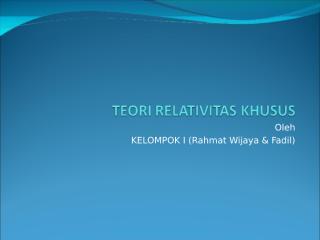 teori relativitas khusus.ppt