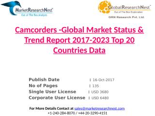 Camcorders -Global Market Status & Trend Report 2017-2023 Top 20 Countries Data.pptx