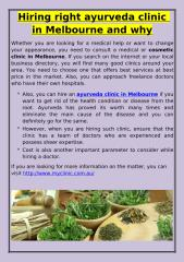 Hiring right ayurveda clinic in Melbourne and why.pdf